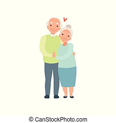 Senior man and woman embracing each other, elderly romantic couple in love vector Illustration on a white background