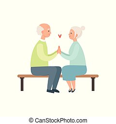 Senior man and woman sitting on a park bench, elderly romantic couple in love vector Illustration on a white background
