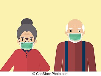 Senior man and woman wearing medical masks