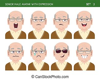 Senior man avatar with expressions