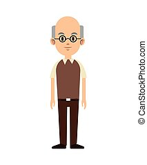 senior man bald with glasses and vest