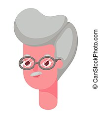 Senior man cartoon head vector design