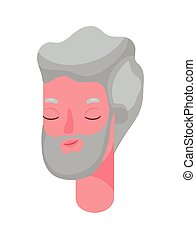 Senior man cartoon head with beard vector design