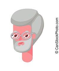 Senior man cartoon head with glasses vector design