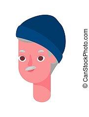 Senior man cartoon head with hat vector design