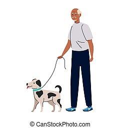 Senior man cartoon with dog vector design