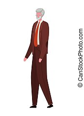 Senior man cartoon with suit and glasses vector design