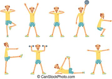 Senior man character exercising set, healthy active lifestyle retiree, elder fitness vector Illustrations