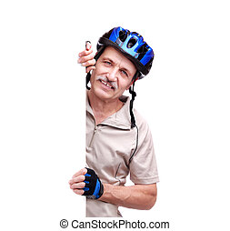 senior man cyclist holding blank board