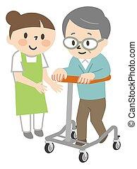 Senior man doing rehabilitation training with a walker