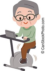 Senior man exercising on stationary bikes in fitness class