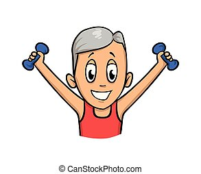 Senior man exercising with dumbbells. Flat vector illustration. Isolated on white background.