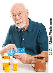 Senior Man Forgot to Take Medicine - Confused senior man...
