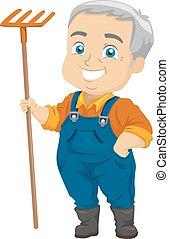 Senior Man Gardening Rake - Illustration of a Senior Citizen...