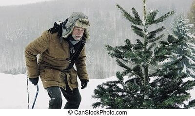 Senior man getting a Christmas tree in forest. Winter day.