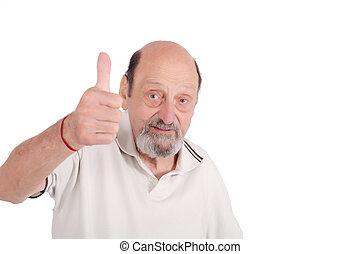Senior man giving thumb up.