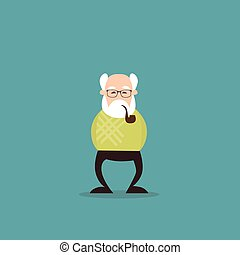 Senior Man Grandfather Full Length Flat Vector Illustration