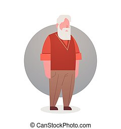 Senior Man Grandfather Gray Hair Male Icon Full Length Flat...