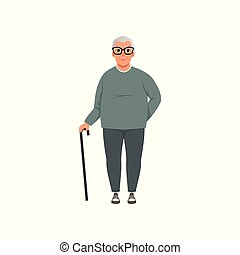 Senior man, grandfather, stage of growing up concept vector Illustration on a white background