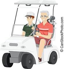 Senior Man Grandson Golf Cart