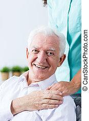 Senior man grateful for the care - Senior happy man...