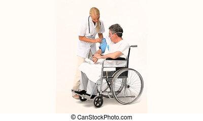 Senior man has a nurse visit