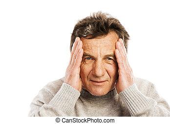 Senior man has headache, isolated on white background