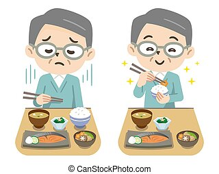 Senior man having anorexia and senior man eating with a smile