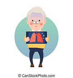 Senior Man Having Inflammation Lung - Vector Illustration of...