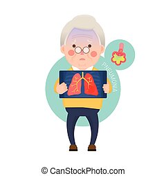 Senior Man Having Pneumonia