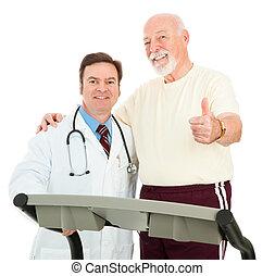 Senior Man Heart Healthy - Senior man and his doctor giving...