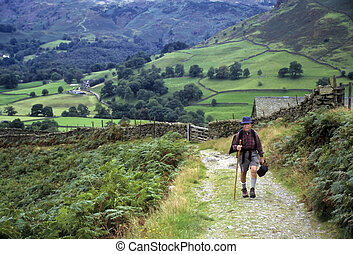 Senior man hiking in England