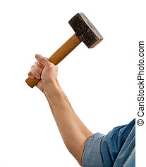 Senior man holding a large hammer