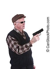 Senior Man Holding Handgun