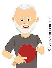 Senior man holding ping pong racket and ball