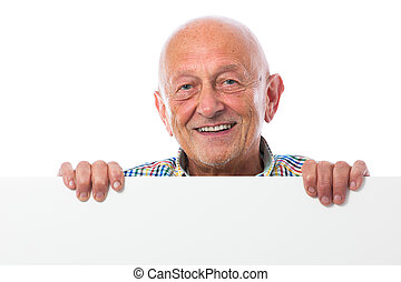 Senior man holds a blank board