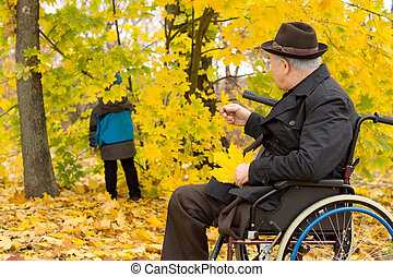 Senior man in a wheelchair in fall woods