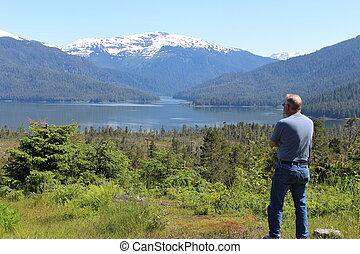 Senior Man in Alaska Landscape