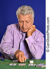 Senior man in casino