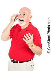 Senior Man in Cellphone Conversation - Senior man having a ...