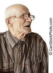 Senior man in eyeglasses sideview photo over white