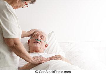 Senior man in hospice