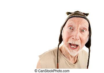 Senior man in knit cap