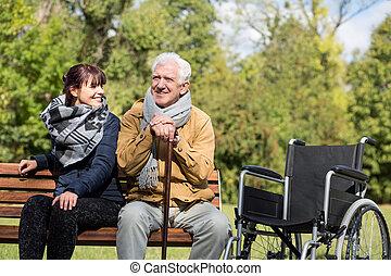 Senior man in park - Senior man sitting on the bench in park
