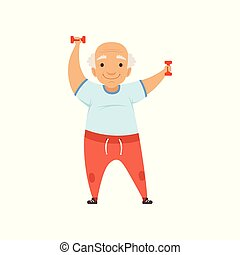 Senior man in sports uniform exercising with dumbbells, grandmother character doing morning exercises or therapeutic gymnastics, active and healthy lifestyle vector Illustration