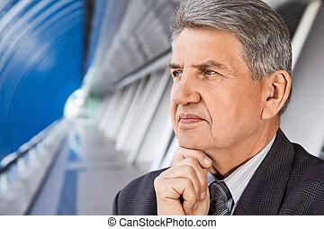 Senior man in the building