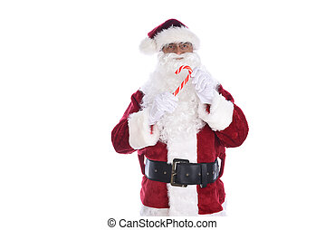 Senior man in traditional Santa Claus costume holding a candy cane in both hands. Isolated on white.