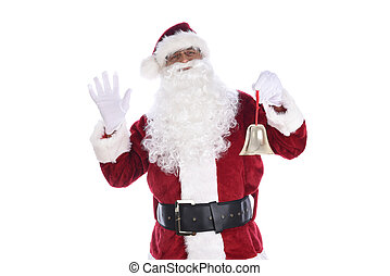 Senior man in traditional Santa Claus costume holding a gold bell ornament in one hand and waving with the other. Isolated on white.