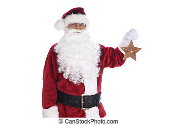Senior man in traditional Santa Claus costume holding a gold star ornament in one hand. Isolated on white.