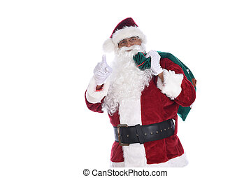 Senior man in traditional Santa Claus costume with a bag of toys over his shoulder and pointg wiht the other hand. Isolated on white.